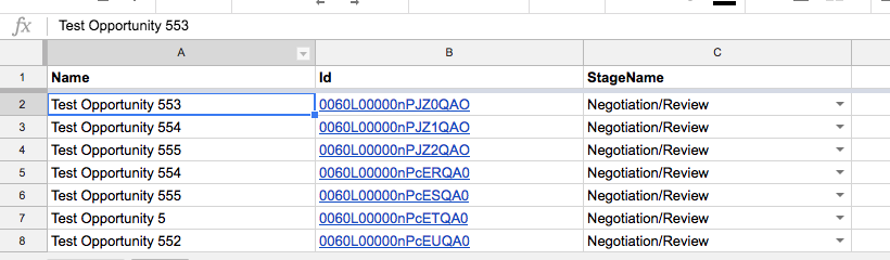 Updating Existing Records in Salesforce from Google Sheets
